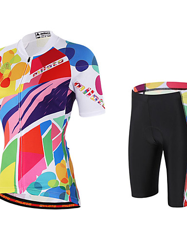 00bdb464e0b Miloto Women s Short Sleeve Cycling Jersey with Shorts - Pink Rainbow Plus  Size Bike Shorts Jersey Bib Tights Breathable Quick Dry Sweat-wicking  Sports ...