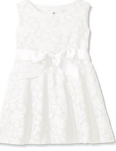 Schede / kolom knie lengte bloem meisje jurk - kant mouwloze juweel hals met lint
