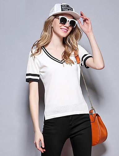 sybel kvinders afslappet / daglig simpel forår / sommer t-shirt, solid v hals kortærmet hvid bomuld medium