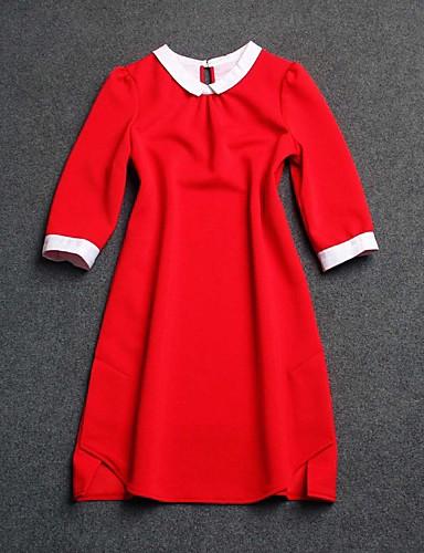 Kvinders Street I-byen-tøj Skede Kjole Ensfarvet,Krave Over knæet 1/2 ærmelængde Rød / Sort Polyester Sommer