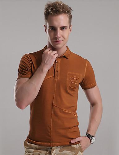 Mr D® Herre Skjortekrage Kort Erme T skjorte Brun / Beige / Grå Marl-6777