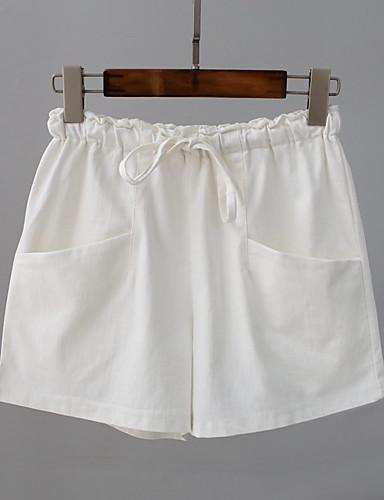 Kvinders Simpel Shorts / Chinos Bukser Mikroelastisk Bomuld