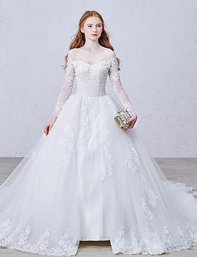 Ballkleid Bateau Hals Kathedralen Schleppe Tüll mit Spitzen-Overlay Made-To-Mode Brautkleider mit Applikationen / Spitze / Knopf durch