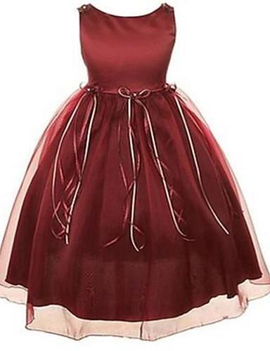 Ball gown polvipituus kukka tyttö mekko - organza hihaton jalokivi niska nauha