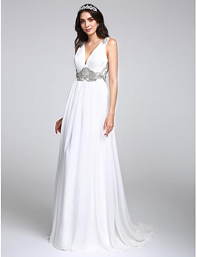 A-vonalú V-alakú Seprő uszály Sifon Egyéni esküvői ruhák val vel Kristály Cakkos által LAN TING BRIDE®