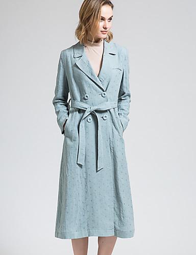 BORME® Dames Overhemdkraag Lange mouw Trenchcoat Cyaan-Y050
