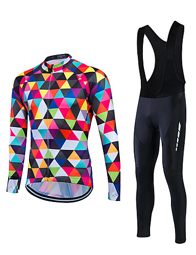 cheap Cycling Clothing-Fastcute Men's Long Sleeve Cycling Jersey with Bib Tights Black Argyle Bike Clothing Suit Thermal / Warm Windproof Sports Winter Fleece Mountain Bike MTB Road Bike Cycling Clothing Apparel / Stretchy