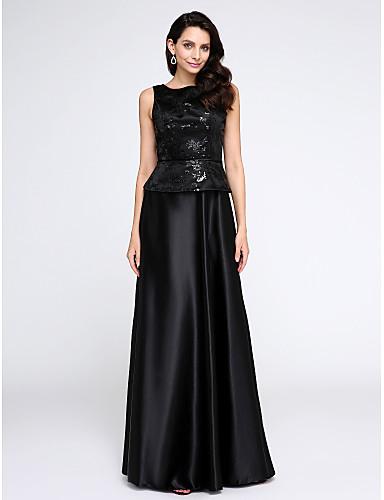 A-Linie U-Ausschnitt Boden-Länge Stretch - Satin Cocktailparty / Formeller Abend Kleid mit Paillette durch TS Couture®