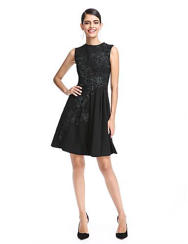 A-Linie Leger & Aufgebauscht Schmuck Kurz / Mini Chiffon Cocktailparty / Abiball Kleid mit Applikationen durch TS Couture®