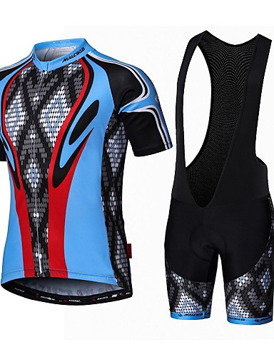 cheap Cycling Clothing-Malciklo Men's Short Sleeve Cycling Jersey with Bib Shorts - White Black Bike Clothing Suit Breathable 3D Pad Quick Dry Back Pocket Sports Coolmax® Lycra Snake Mountain Bike MTB Road Bike Cycling