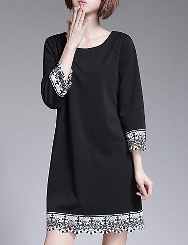 Damen Übergrössen A-Linie Kleid - Spitze Druck Mini