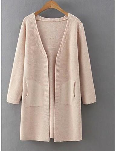 Dames Casual/Dagelijks Eenvoudig Lang Vest Effen-V-hals Driekwart mouw Acryl Herfst Dun Micro-elastisch