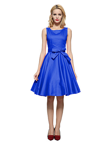 Γυναικεία Πάρτι/Κοκτέιλ Βίντατζ Skater Φόρεμα,Μονόχρωμο Αμάνικο Χαμόγελο Ως το Γόνατο Μπλε / Κόκκινο / Μαύρο Βαμβάκι Όλες τις Εποχές