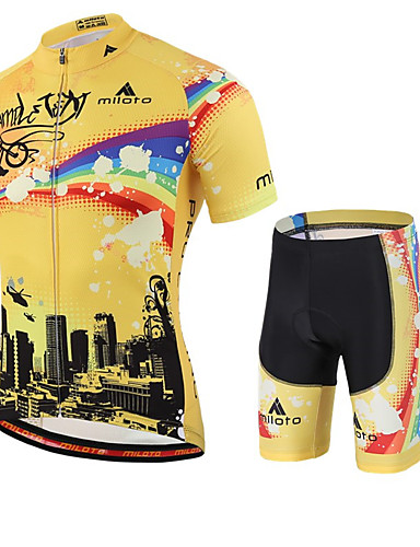 cheap Cycling Clothing-Miloto Men's Short Sleeve Cycling Jersey with Shorts - Yellow Rainbow Bike Shorts Jersey Clothing Suit Breathable Quick Dry Sweat-wicking Sports Polyester Lycra Rainbow Mountain Bike MTB Road Bike
