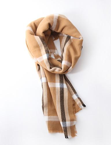 Unisex Vintage / Kontor / Casual Polyester / Rayon Halstørklæde-Ruder Firkantet Sort / Hvid / Khaki