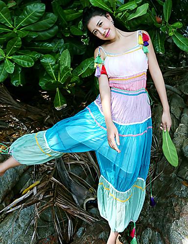 Damer Simple I-byen-tøj Afslappet/Hverdag Flyverdragtter Højtaljede Farveblok Sommer