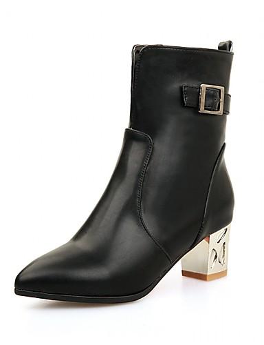 Mulheres Sapatos Courino Couro Envernizado Sintético Primavera Outono Inverno Inovador Botas Caminhada Salto Robusto Salto de bloco Ziper