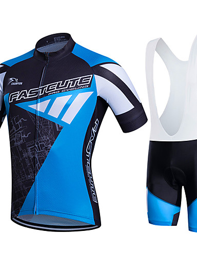 cheap Cycling Jersey & Shorts / Pants Sets-Fastcute Men's Short Sleeve Cycling Jersey with Bib Shorts - Black / Blue Plus Size Bike Clothing Suit Breathable 3D Pad Quick Dry Sweat-wicking Sports Polyester Lycra Sports Mountain Bike MTB Road