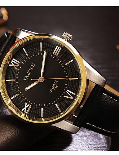 YAZOLE Hombre Reloj de Pulsera Noctilucente Piel Banda Encanto / Reloj de Vestir Negro / Marrón / SSUO 377