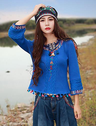 Langærmet Rund hals Medium Kvinders Blå Broderi Forår / Efterår Kineseri I-byen-tøj T-shirt,Akryl / Spandex