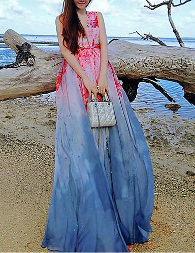 Damen Swing Kleid-Strand Boho Blumen V-Ausschnitt Maxi Ärmellos Blau Seide / Polyester Sommer Mittlere Hüfthöhe
