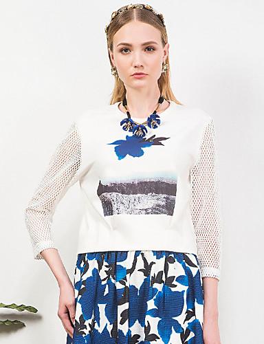 3/4 ærmelængde Rund hals Solid Damer Trykt mønster Forår Sommer Simpel I-byen-tøj Bluse,Polyester Spandex