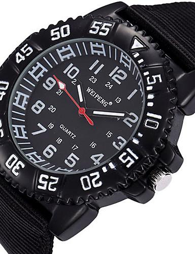 Heren Sporthorloge Militair horloge Modieus horloge Polshorloge Kwarts / Stof Band Vintage Cool Vrijetijdsschoenen Zwart Blauw Bruin Groen