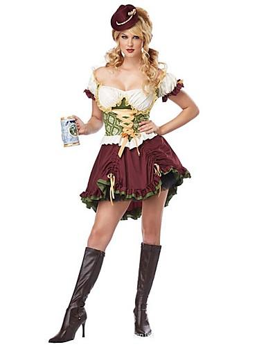 voordelige carrière Uniformen-Halloween Oktoberfest Dirndl Trachtenkleider Dames Kleding Helm Bavarian Kostuum
