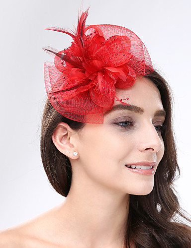 cheap Wedding Accessories-Feather / Net Fascinators / Headwear with Floral 1pc Wedding / Special Occasion Headpiece