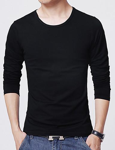 Herrn Solide Sport / Arbeit Baumwolle T-shirt / Langarm