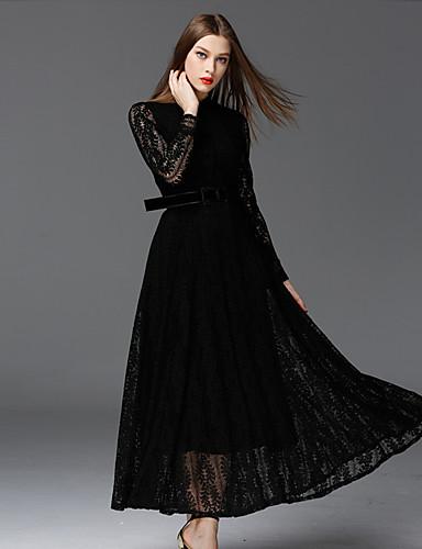 De frmz vrouwen werk vintage dresssolid staan maxi lange mouw zwart katoen / polyester / nylon