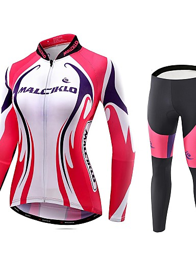 cheap Cycling Clothing-Malciklo Women's Long Sleeve Cycling Jersey with Tights Red and White Geometic British Plus Size Bike Tights Breathable 3D Pad Quick Dry Sports Coolmax® Elastane Lycra Geometic Mountain Bike MTB Road