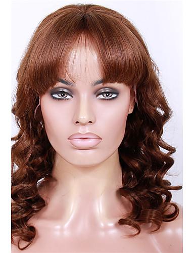 abordables Perruques Naturelles Dentelle-Perruque Cheveux Naturel humain Lace Frontale Sans Colle Lace Frontale Cheveux Brésiliens Ondulé Frange droite Femme Densité 130% 150% 20-24 pouce avec des cheveux de bébé Ligne de Cheveux Naturelle