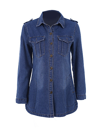 Women's Solid Blue Denim Coat , Vintage