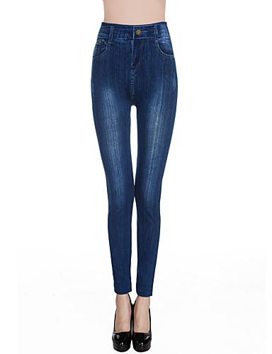 Damen Mittel Baumwolle Bedruckt Legging, Blau