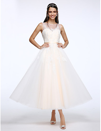 גזרת A סקופ צוואר באורך הקרסול טול שמלות חתונה מותאמות אישית עם אפליקציות כפתור על ידי LAN TING BRIDE®