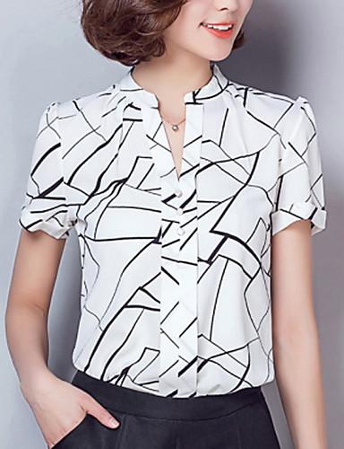 여성 기하학 V 넥 짧은 소매 셔츠,심플 스트리트 쉬크 작동 레이온 폴리에스테르 여름 얇음