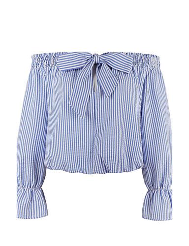 Dames Vintage Grote maten-Overhemd Gestreept Boothals