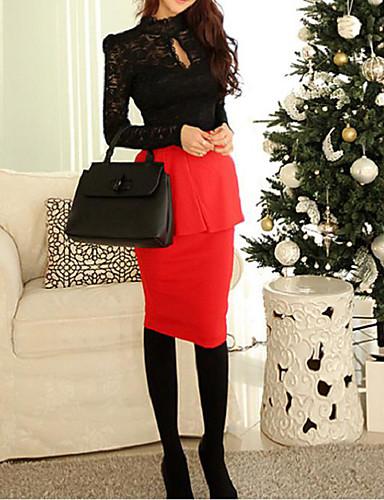 Damen Solide Einfach Ausgehen Bluse,Ständer Langarm Weiß / Schwarz Polyester Mittel