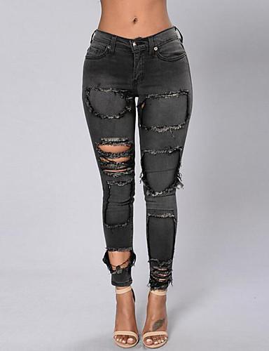 Mulheres Casual Cintura Média Micro-Elástica Jeans Calças, Poliéster Primavera Outono Sólido