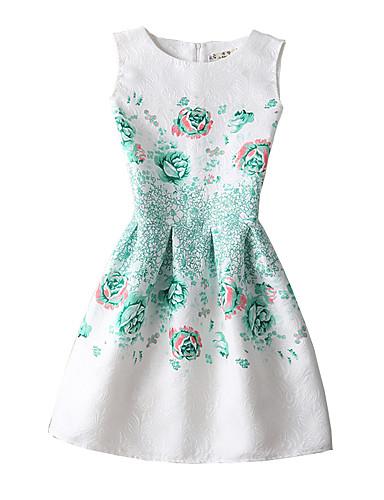 Dame Vintage Casual/hverdag Skede Kjole Trykt mønster,Rund hals Over knæet Uden ærmer Hvid Polyester Alle årstider Alm. taljede Uelastisk