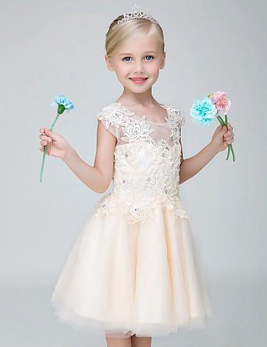 A-line knie lengte bloem meisje jurk - tule korte mouwen juweel hals met applique
