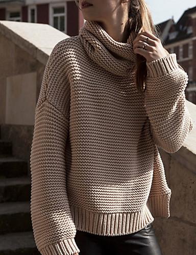 Dame Gatemote Langermet Pullover - Ensfarget Rullekrage
