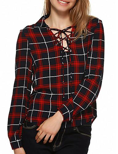 Bomull V-hals Skjorte Dame - Ruter
