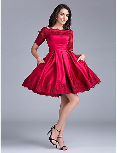 볼 드레스 바투 넥 무릎 길이 새틴 칵테일 파티 회사 파티 드레스 와 레이스 으로 TS Couture®