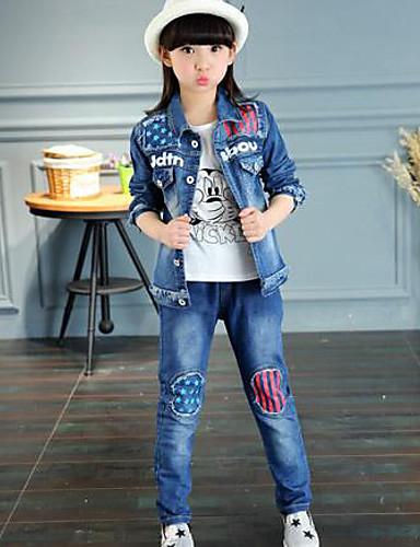 Casual/Dagelijks-Heelal-Katoen-Lente / Herfst-Girl's-Jeans-Blauw