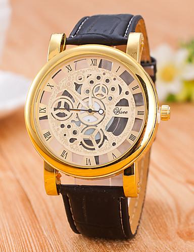 Homens Quartzo relógio mecânico Relógio Esqueleto / Venda imperdível PU Banda Casual Preta Marrom