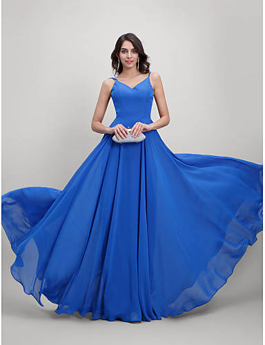A-Line Spaghetti Strap Sweep   Brush Train Chiffon Beautiful Back Prom   Formal  Evening Dress with Pleats by TS Couture® 9a2d42dcd199