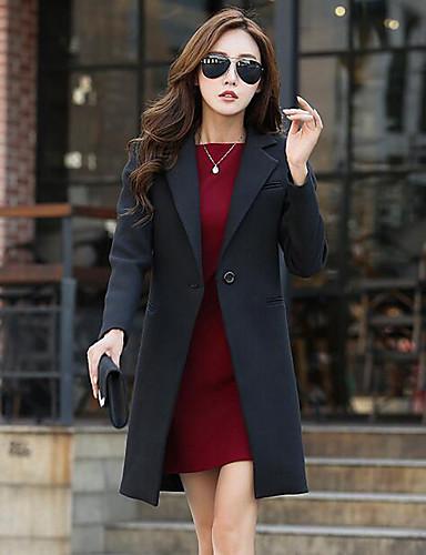 女性 カジュアル/普段着 / プラスサイズ ソリッド コート,シンプル レッド / ブラック ポリエステル 長袖