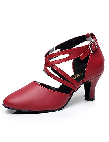 37dc8a88c8b5 Γυναικεία Παπούτσια χορού λάτιν Δέρμα Πέδιλα Αγκράφα Χαμηλό τακούνι  Εξατομικευμένο Παπούτσια Χορού Μαύρο / Κόκκινο / Εσωτερικό / Επίδοση /  Εξάσκηση / ...